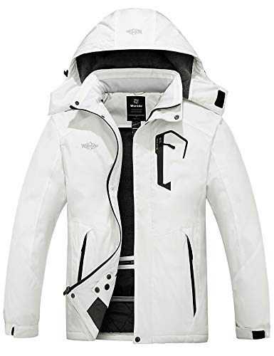 Wantdo Men's Snow Jacket Waterproof Ski Coat Winter Rain Parka Windbreaker White XL