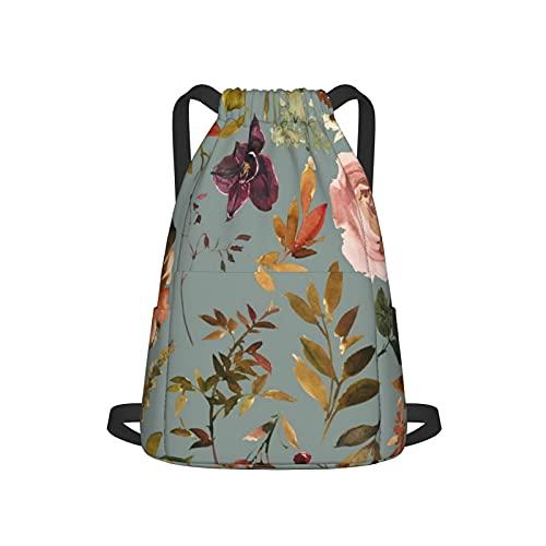 Mochila grande con cordón, ajustable, correas anchas y bolsillo trasero con cremallera para deportes, cincha de viaje, para adolescentes, hombres, mujeres, cobre, otoño, flores, manto azul