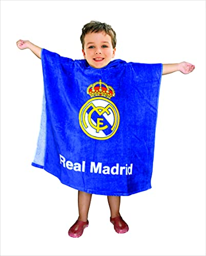 Real Madrid Poncho Playa de Algodon - Toalla con Capucha - Talla Única 60x120 cm. (Azul)