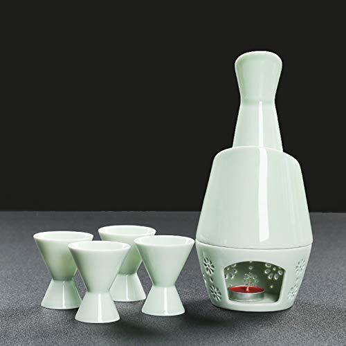 LTLWSH Liqueur Japonaise Sake Set Porcelaine 7 pièces avec Chauffe-Bouteille en céramique Traditionnelle en céramique Coupes Artisanat Température Verres à vin,Light Blue