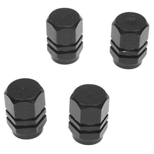 Pestelle Conjunto de 4 Tapas de Valvula para neumaticos de Bicicleta, Motocicleta, automovil - Negro