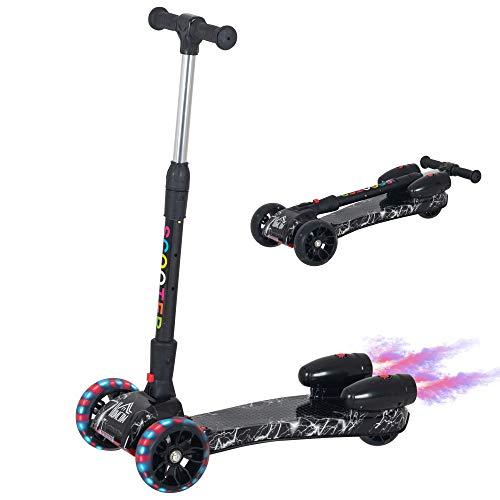 HOMCOM Patinete para Niños Scooter Plegable con Altura Ajustable de 4 Niveles y Música Luces y Nebulizador de Agua +3 Años 62x29x63-81 cm Negro