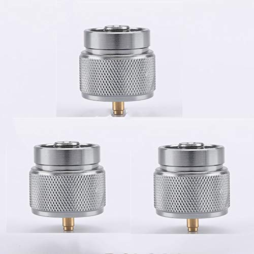 ZKZX 3 Pieces Camping Stove Adapter 1LB Propane Small Tank Input and a Lindal Valve EN417 Output Outdoor Cylinder LPG Canister Adapter (Silver)