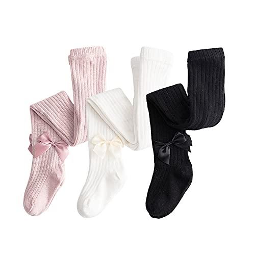 Dsaren 3 Pares Medias Bebé Termicos Algodón Pantimedias Niña Calcetines Altos con Lazo (blanco, negro, rosa, L (2-3 años))
