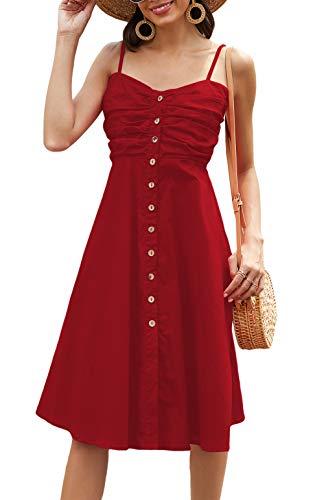 Odosalii Damen Sommerkleid Ärmelloses Maxikleid Verstellbaren Spagettiträgern Strandkleid Knöpfe Vintage Cocktailkleid Kleider (Medium, Rot01)