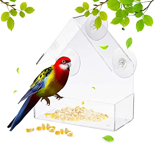 Mangiatoia per Uccelli Trasparente Casetta Uccellini da Giardino con 3 Ventose Casetta per Uccelli in Plastica Mangiatoia per uccelli esterna per giardino Uccelli selvatici da esterno 15x6x15cm