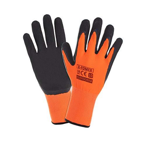 PROCERA X-FOMER Arbeitshandschuhe Herren geschäumter Latex Handschuhe dehnbar und langlebig Damen wasserbeständig säurebeständig beschichtet; schwarz und orange (12, T9)