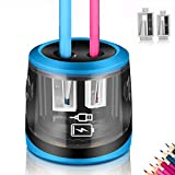 Electric Pencil Sharpeners, USB & Battery Mains Power, AOBETAK 2 Hole Heavy Duty Electronic Automatic Pencil Sharpener with Big Container for Kids Artist, Colored Pencil and No.2, Home and Office