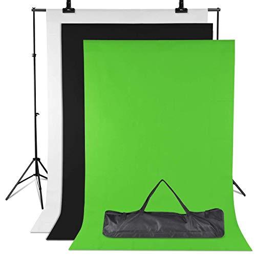 Amzdeal Fonds Support Système, avec 3 Toiles de Fond Vert/Blanc/Noir 2m*1.6m en Tissu Pur Coton, Support 3m*2m Réglable en Hauteur 65-200cm pour Photographie Portrait Objet Vidéo Studio Photo