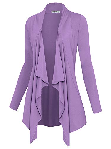 Lock and Love LL Women's Drape Front Open Cardigan Long Sleeve Irregular Hem S-5XL Plus Size Made in USA M Lilac