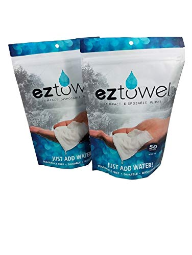 EZ-Towels ( 2 bags of 50)  Compressed Tablets Of White Rayon With Travel Tubes That Hold 10 Towels