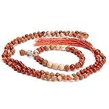 aqasha® Original Mala-Set Gebetskette & Armband - Jaspis Rot - Heilige Rudraksha OM Symbol 925 Sterling Silber
