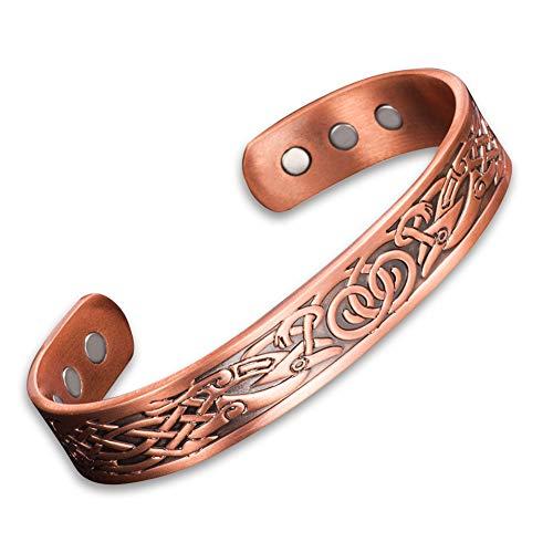 Pulsera Viking de cobre puro para hombre, 6 imanes de energía, magnéticos, ajustable, estilo vintage, pulseras anchas, para aliviar el dolor