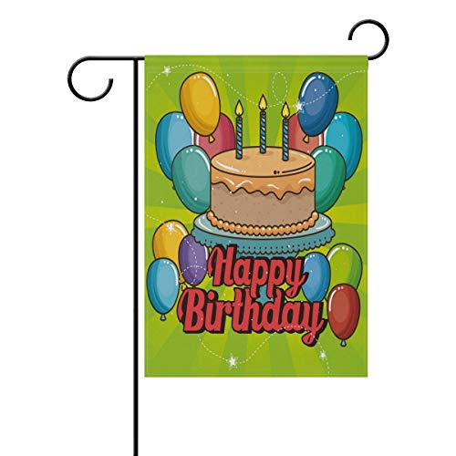 JiaMa Happy Birthday Garden Flag Double Sided Home Decorative, Party Cake Balloons Candles Design House Yard Flag, 12 x 18 Inch Holiday Party Outdoor Flag Best Birthday Gift