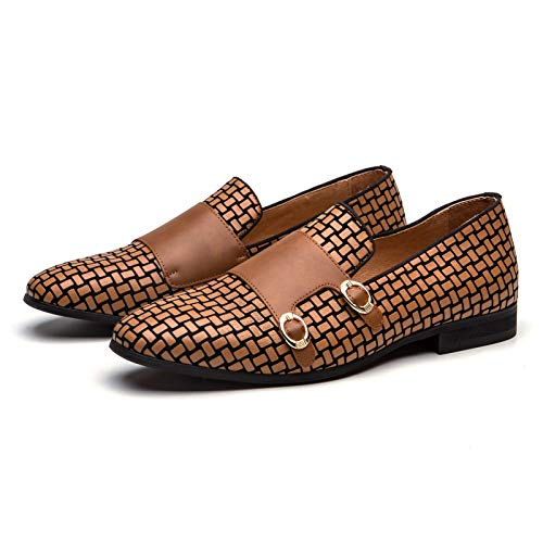 MEIJAINA Men's Brown Loafers Leather Dress Shoes Slip on Wedding Shoes for Men