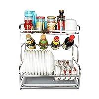 食器棚は、3層構造のステンレス鋼は、ドリップトレーラックドレンキッチンラックを排出し、トレイとカトラリーラック、食器乾燥棚、スパイスボックスホルダーラックを排出します。
