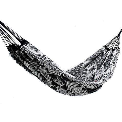 Rede de Dormir Casal Indiana Preto com Branco
