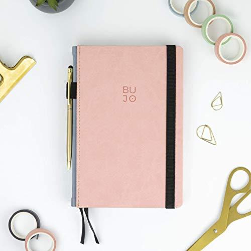 Bullet Journal - BUJO Colors Coral - Takenote A5 Cuaderno de Tapa Dura Polipiel - Papel Grueso Premium (Coral)