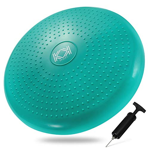KK Balance Wobble Cushion for Adults and Kids, Inflatable Anti-Slip Stability Board for Physio, Posture & Fitness, Wobble Cushion (34cm) Balance Board & Fidget Cushion (Green)