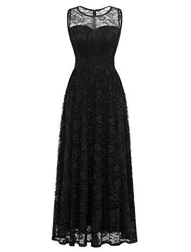 WedTrend Damen Spitzen Lange Brautjungfer Kleid Abendkleid Party Ärmellos Cocktailkleid WTL10007 A-Black L