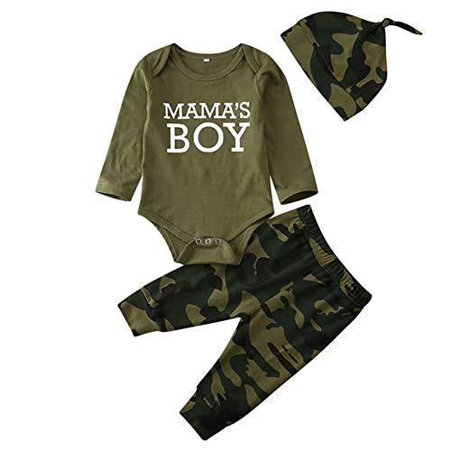 Geagodelia 3tlg Babykleidung Set Baby Jungen Kleidung Outfit Body Strampler + Hose + Mütze Neugeborene Kleinkinder Weiche Babyset T-18266 (0-3 Monate, Mama's Boy (Grün 708B - Langarm))