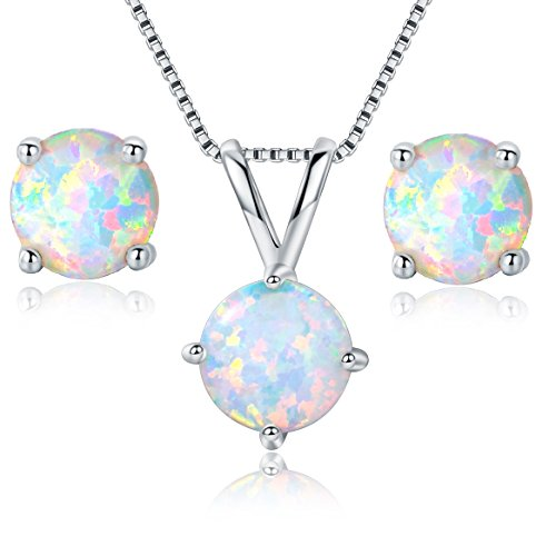 GEMSME 8MM Round Opal Pendant Necklace and 6MM Round Birthstone Stud Earrings Set (White-Gold-Plated-Base)