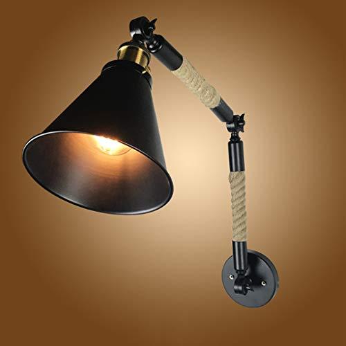 Pointhx American Loft - Lámpara de pared ajustable de dirección retro, lámpara de pared, cuerda de cáñamo, barra de conexión, lámpara de lectura, vintage, fijación de Edison, 1 luz