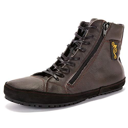Magical Shoes minimalistische Schuhe Herren I ultraleichte Leder Barfußschuhe   Barefoot Shoes Waterproof   Halbstiefel warm I Stiefelette gefüttert   Gr. 47/302mm, Braun I Alaskan 2.0