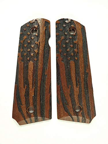 Walnut American Flag Full Size 1911 Grips Checkered Engraved Textured