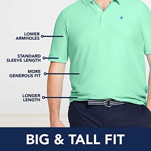 IZOD Men's Big and Tall Advantage Performance Solid Polo, Black, 4X-Large Big