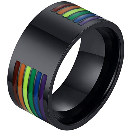 Nanafast Stainless Steel 10mm Gay Pride Rings LGBT Enamel Rainbow Stripe LGBTQ Gay Pride Ring Wedding Band for Men Black Size 9