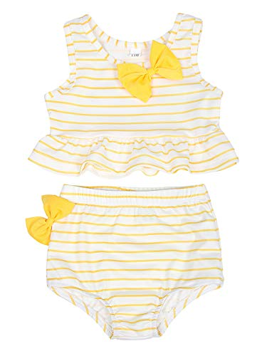 Jurebecia Baby Girl Bikini Striped Beach Swimsuit Ruffles Bathing Suit Adjustable Swimwear 2 Pieces Set 0-4 Years