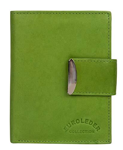 Grüne Geldbörse aus Leder Hochformat - ledergeldbörse Damen Herren Leather Wallet Portemonnaie Brieftasche Echtleder Geldbeutel Grün Green
