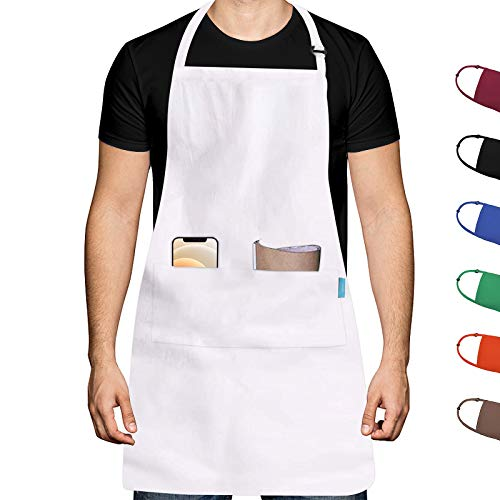 esafio Grembiule da Cucina Adulti Grembiule da Cucina in Poliestere di Cotone con Cintura per Il Collo Regolabile e 2 Tasche Grandi per cuocere Chef Giardinaggio BBQ per Uomini e Donne