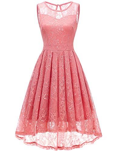 Gardenwed Damen Kleid Retro Ärmellos Kurz Brautjungfern Kleid Spitzenkleid Abendkleider CocktailKleid Partykleid Coral L