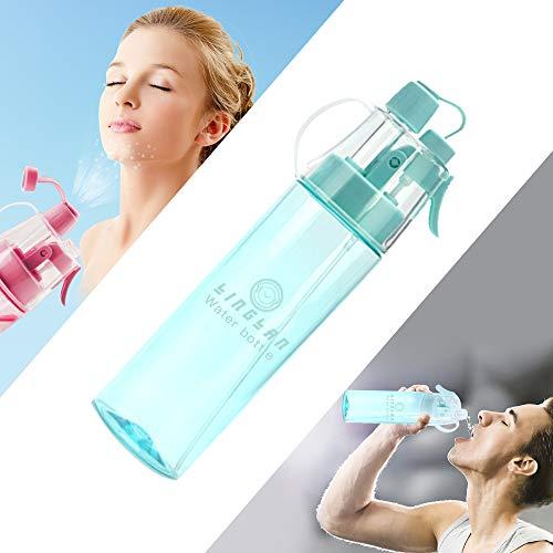 LINGLAN - Borraccia spray per lo sport, 580 ml, per ciclismo, arrampicata, escursionismo e alpinismo (580 ml, blu trasparente)