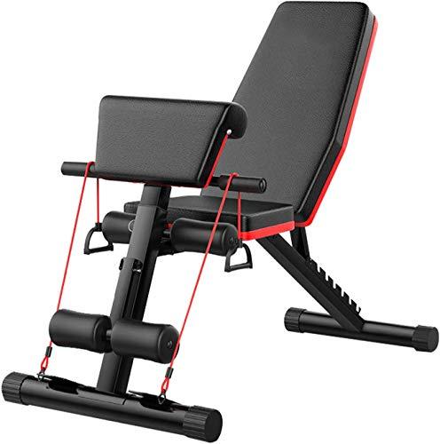 KirinSport Panca per sollevamento pesi, pieghevole, multifunzione, set per l'allenamento della schiena, panca inclinata, panca per addominali con schienale regolabile e fissaggio alle gambe