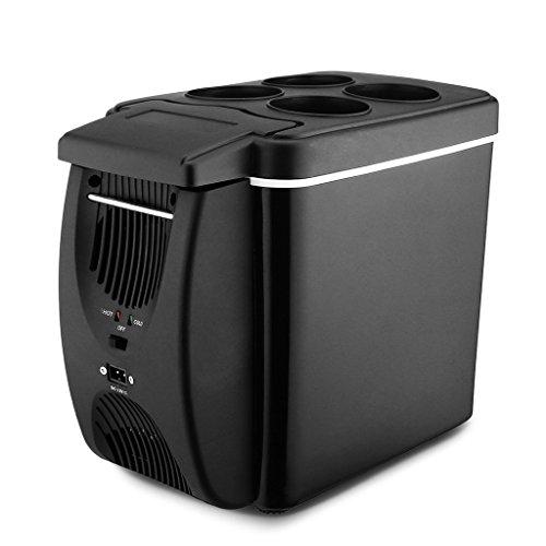 QIHANGCHEPIN Tragbare 6L Auto Mini Kühlschrank Typ Elektrische Kühler Heizung Auto Kühlschrank Gefrierschrank Wärmer Kühler Box (schwarz)