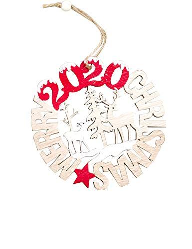Jueshanzj Weihnachtsdekoration Hölzern Weihnachtselemente Weihnachtstürdekoration Hohl mit Tannenzapfen Holz Ornament Weihnachtsbaumanhänger Kleine Runde 10x10cm