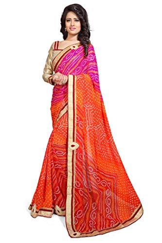 Mirchi Fashion Mirchi Fashion Damen Gedruckt Partei-Abnutzungs Sari mit Ungesteckt Oberteil/Top