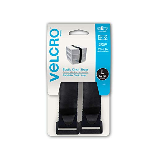 VELCRO Brand All-Purpose Elastic Straps | Strong & Reusable | Perfect for Fastening Wires & Organizing Cords | Black, 27in x 1in | 2 Count
