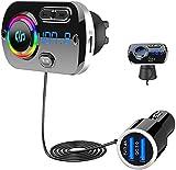 SONRU Nuevo Transmisor FM Bluetooth 5.0, Bluetooth para Coche Manos Libres para Vehículos, QC3.0 USB Cargador de Coche, Apoyo Tarjeta TF y Salida AUX, Sonido Cristal, Luz Colorida, Cable de 1.1M