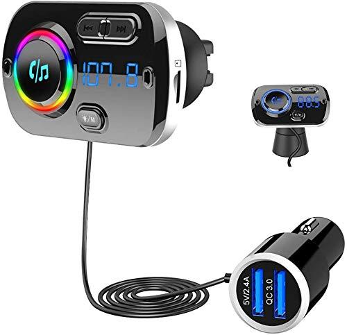 SONRU Transmetteur FM Bluetooth 5.0, Adaptateur Radio FM Émetteur Kit Main Libre QC3.0 USB Chargeur Voiture, Support Carte TF/Audio 3,5mm / Siri/Google, Lumière Colorée, Clair Son, 1,1 m Câble