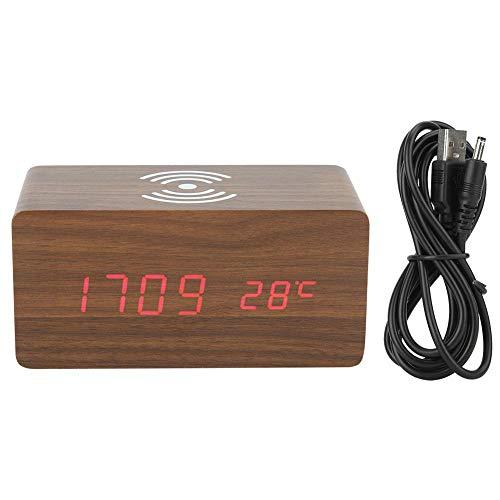 Fdit houten rechthoekige wekker met draadloos opladen en LED Digital Voice Control Display Home Desk Decoration MEERWEG AANBIEDING