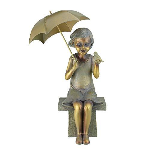 Roman 17.5' Young Garden Girl Sitting While Holding an Umbrella and Bird Statue