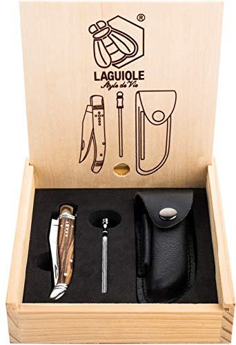 Laguiole Style de Vie Taschenmesser mit Wetzstahl & Ledertasche, Zebranoholz, mit Geschenkbox