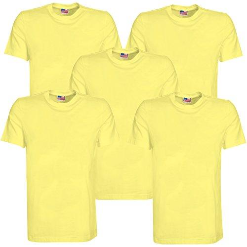 BRUBAKER Lot de 5 T-Shirt pour Homme Couleur American Style 7 Couleurs, Taille M – XXL - - XX-Large