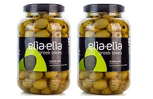 2x 1kg grüne griechische Chalkidiki Oliven entkernt groß Mammut Mammouth eingelegt in Lake + 10ml Olivenöl zum Test im Set - Chalkidiki Griechenland