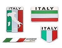 r_planning イタリア 国旗 アルミ プレート ステッカー デコレーション ラベル エンブレム 4枚 セット