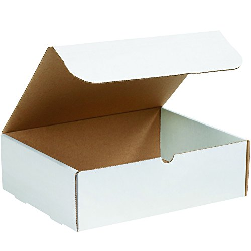 Boxes Fast BFM13104 Corrugated Cardboard Literature Mailers, 13 x 10 x 4 Inches, Tuck Top One-Piece, Die-Cut Shipping Boxes, Large White Mailing Boxes (Pack of 50)